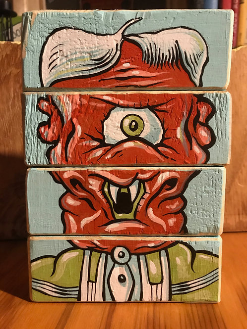 Alien Face blocks (acrylic on wood blocks)