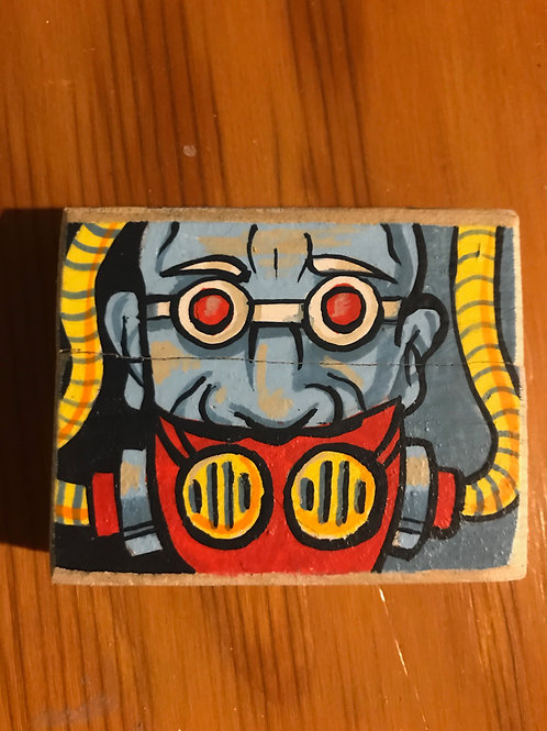 """Breath"" acrylic on wood mini cyborg painting"