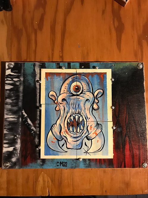 """Ogre"" original acrylic painting on reclaimed wood fabrication."