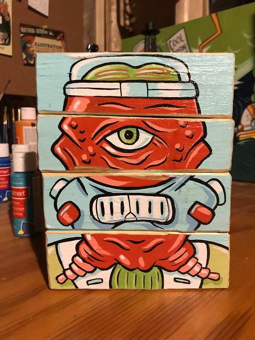 Alien Face Blocks (original art on wood blocks)