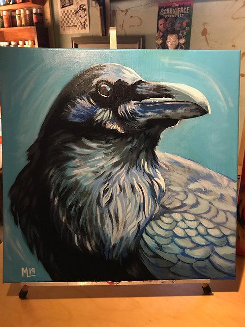 """""""Ice Raven"""" acrylic paint on canvas"""