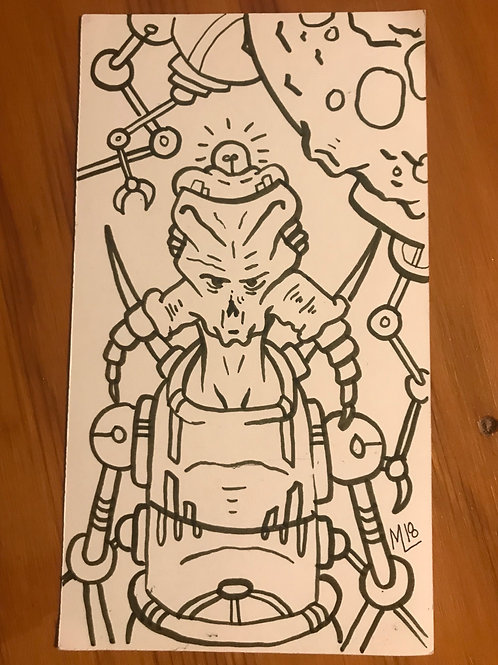 """Planet Rok"" original marker concept drawing."