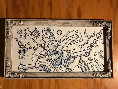 "Original ""Sweet"" Drawing in wood w/glass frame"
