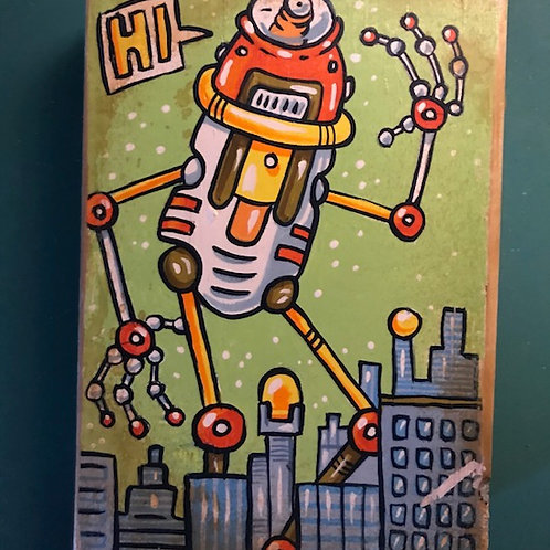 """Citybot"" original acrylic painting on reclaimed wood"