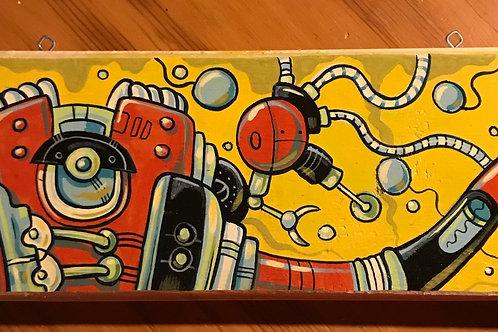 """JuteBot"" (Original acrylic painting on reclaimed wood)"