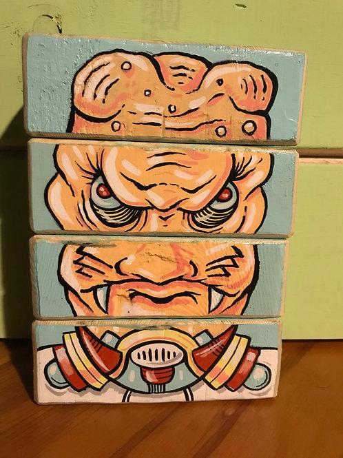 Alien Face Blocks!! (original art on wood blocks)