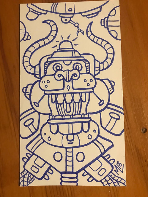 """""""Monkeybot"""" original marker drawing."""