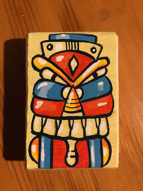 """Kip"" acrylic on wood mini bot painting"