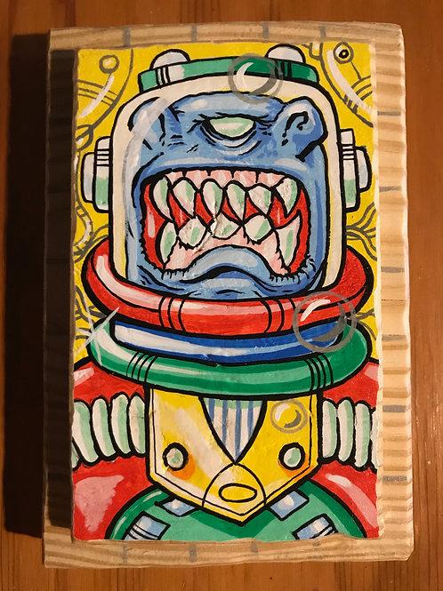 """""""Blue Alien"""" acrylic on reclaimed wood"""