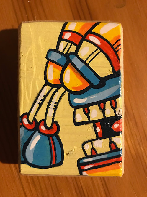 """Clark""acrylic on wood mini robot painting"