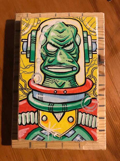 """Green Alien"" acrylic paint on reclaimed wood"