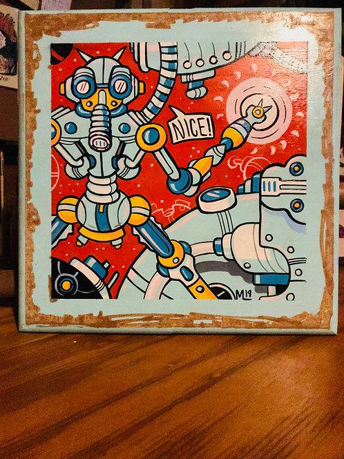 """Nice"" Acrylic painting on wood panel"