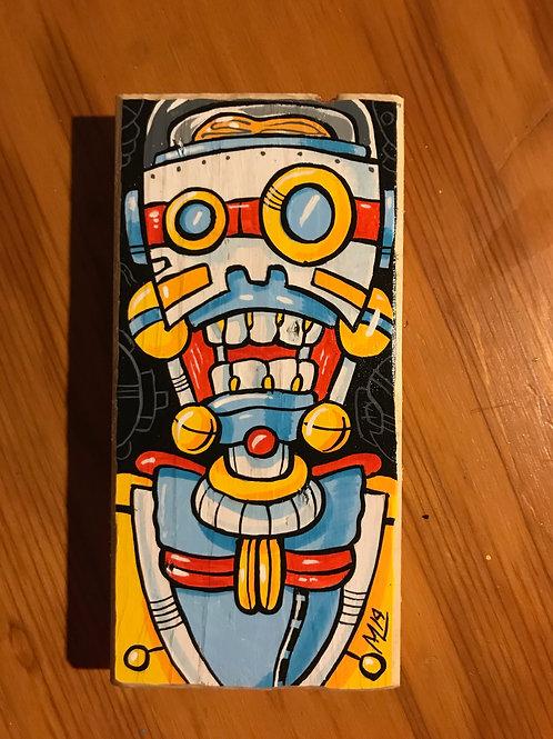 """Monocle Bot"" (Original mini painting on reclaimed wood)"