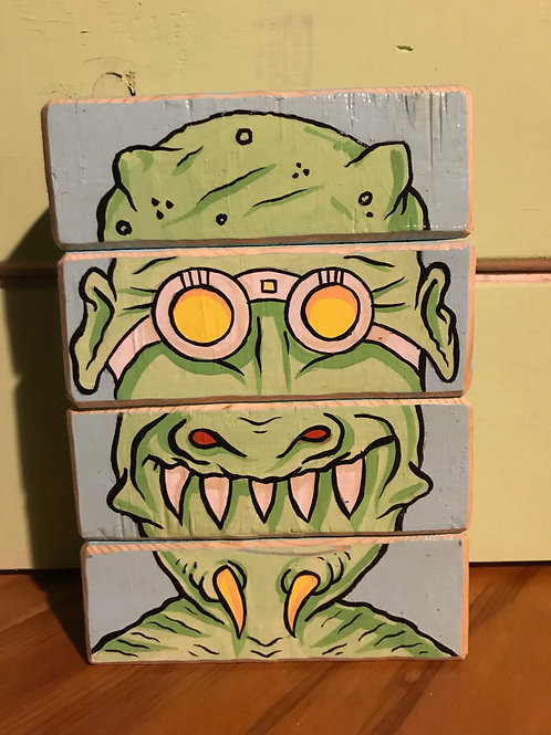Alien Face Blocks (original art on wood blocks)
