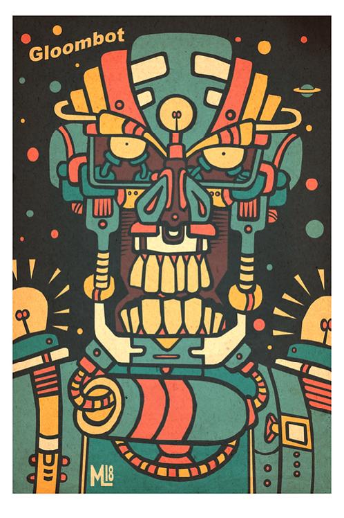 """Gloombot"" original digital illustration print"