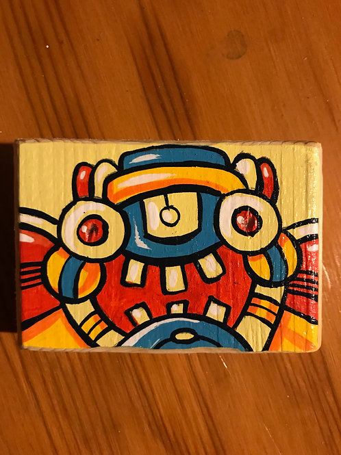 """Benny"" acrylic on wood mini bot painting"