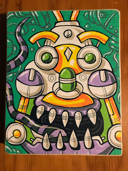 """Purple Lips"" acrylic paint on reclaimed wood"