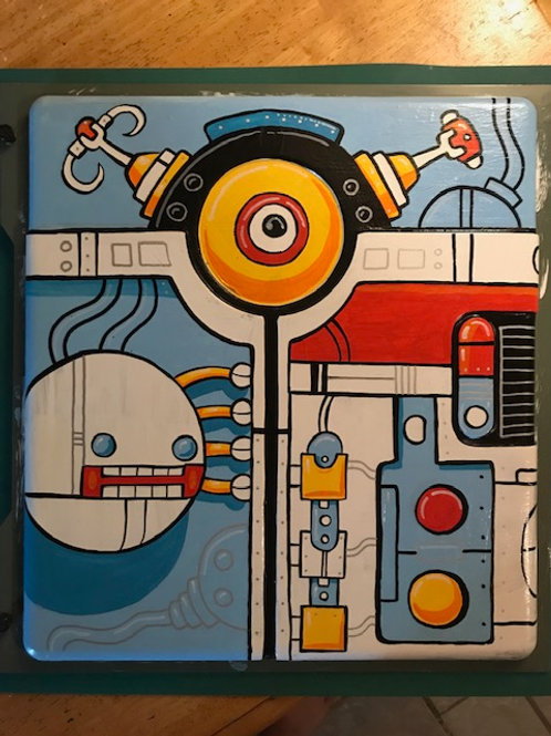 """Eyebot Machine"" original acrylic painting on reclaimed metal panel"