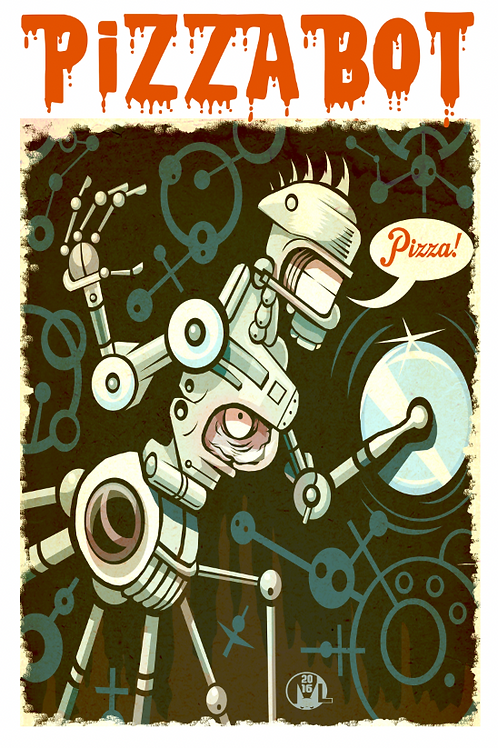 """Pizza"" original digital illustration print"