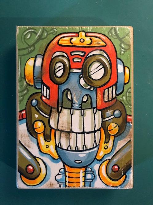 """Apebot"" original acrylic painting on reclaimed wood"