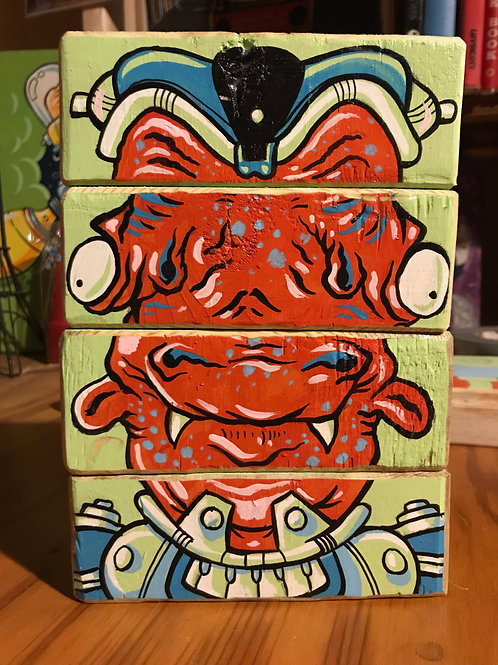 Alien Face Blocks (Original painted wood blocks)