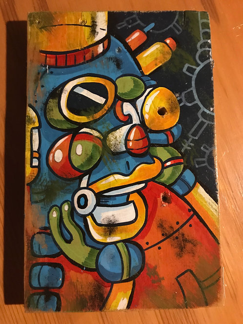 """Tubebot"" original acrylic on wood"