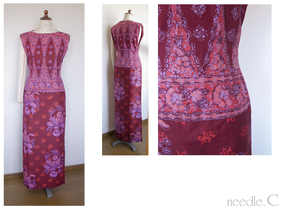 バティックのワンピースドレス