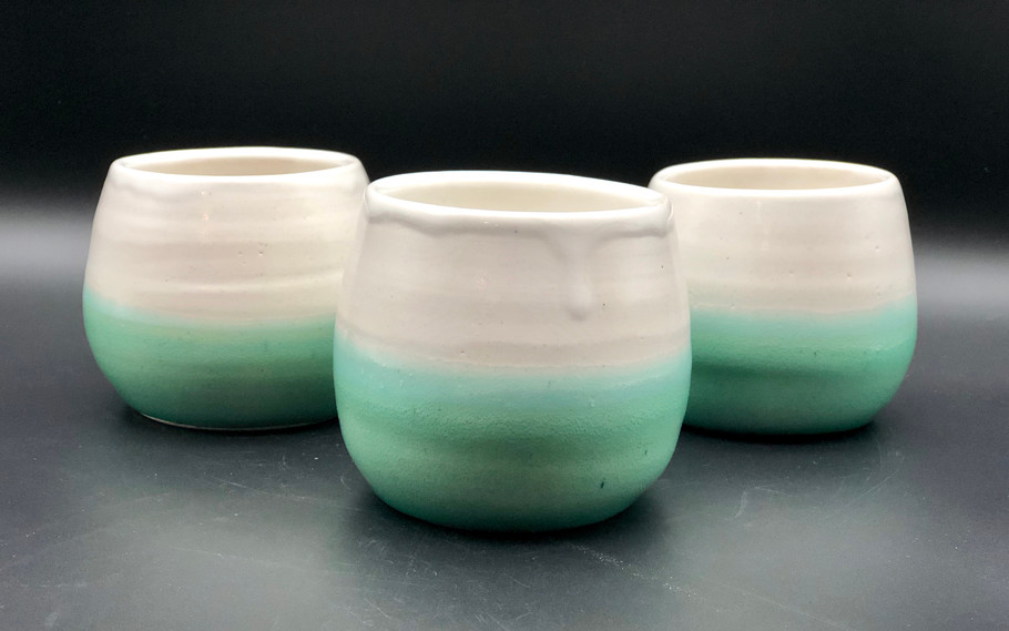 Turquoise and White Wine Tumblers