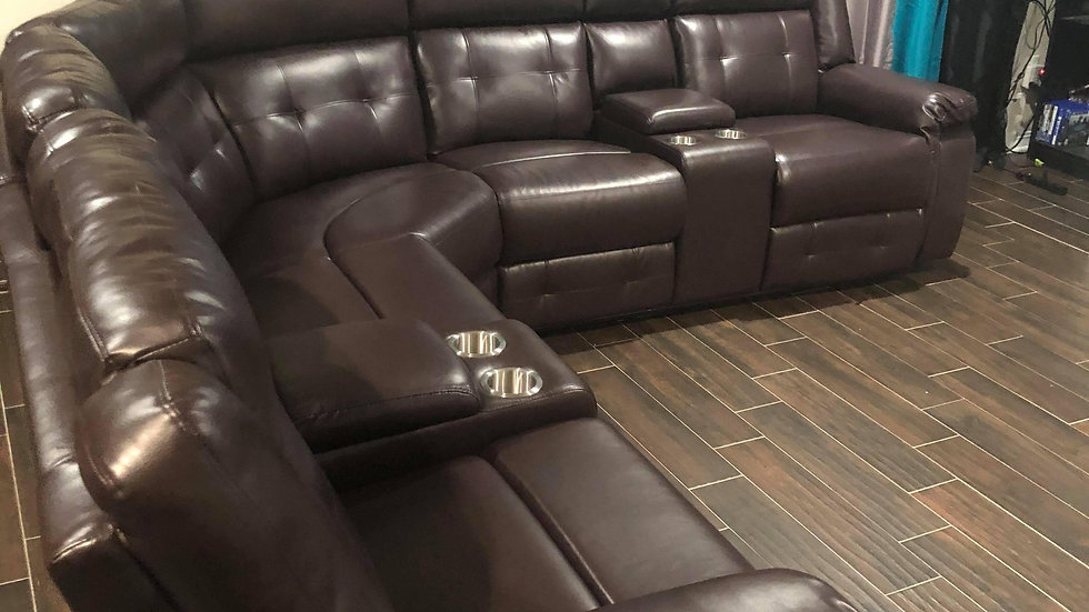 Soft brown leather reclining sectional with cup holders - Delivery included
