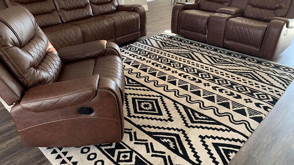 Power reclining sofa set with diamond pattern stitching