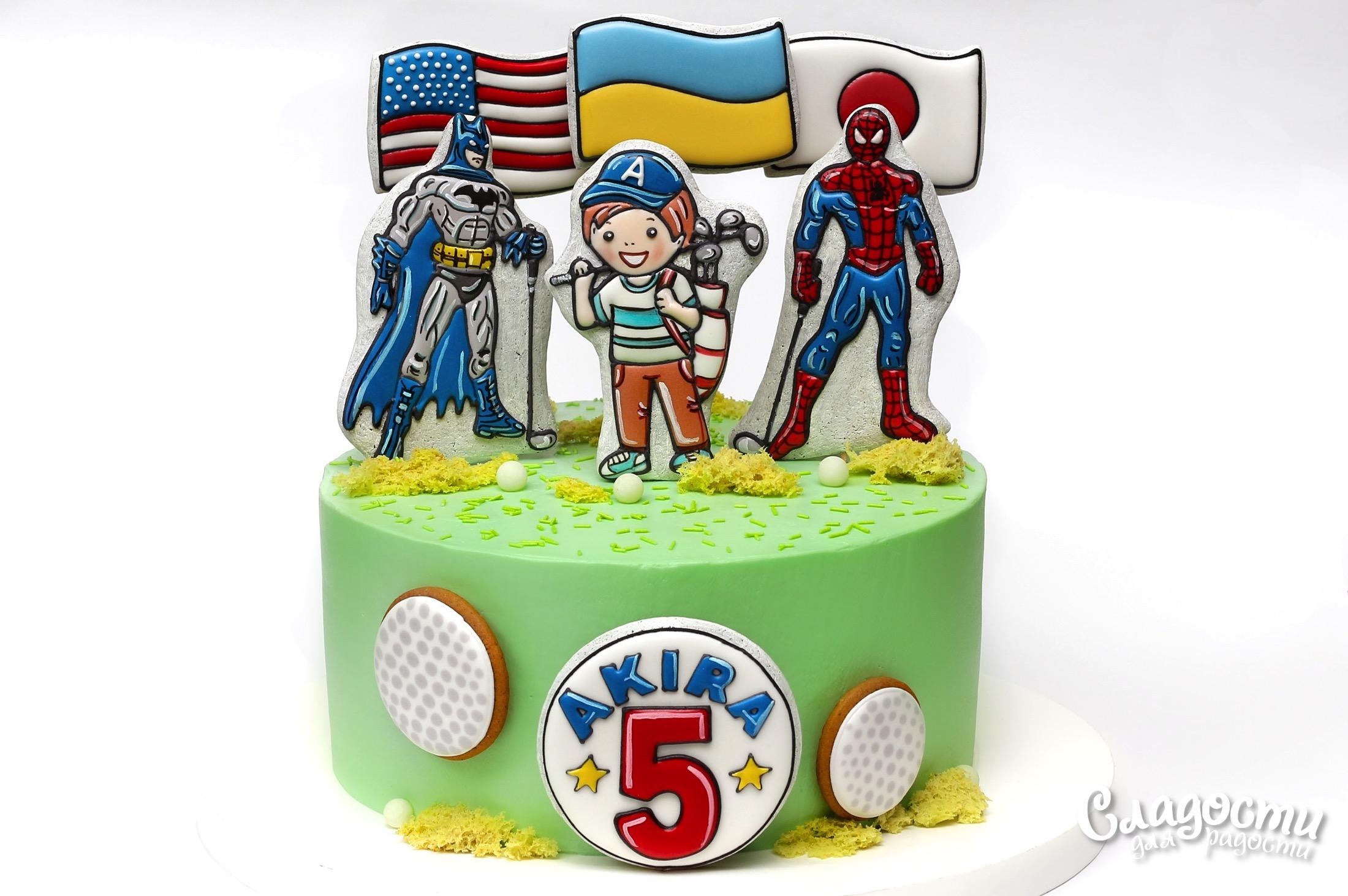 """Торт """"Супергерои играют в гольф"""""""