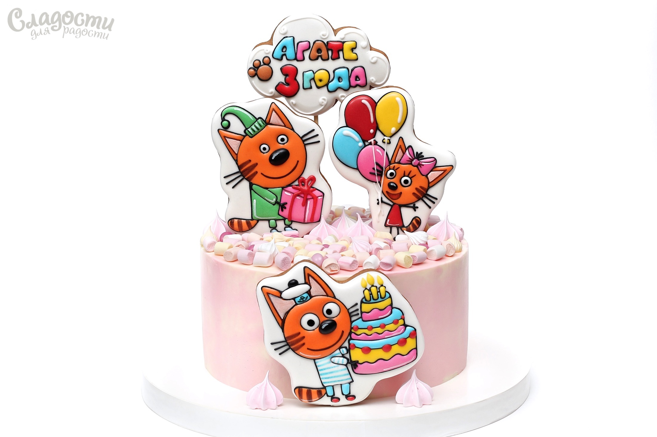 Торт с сахарной картинкой три кота