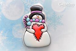 "Пряник ""Снеговик с сердечком"""