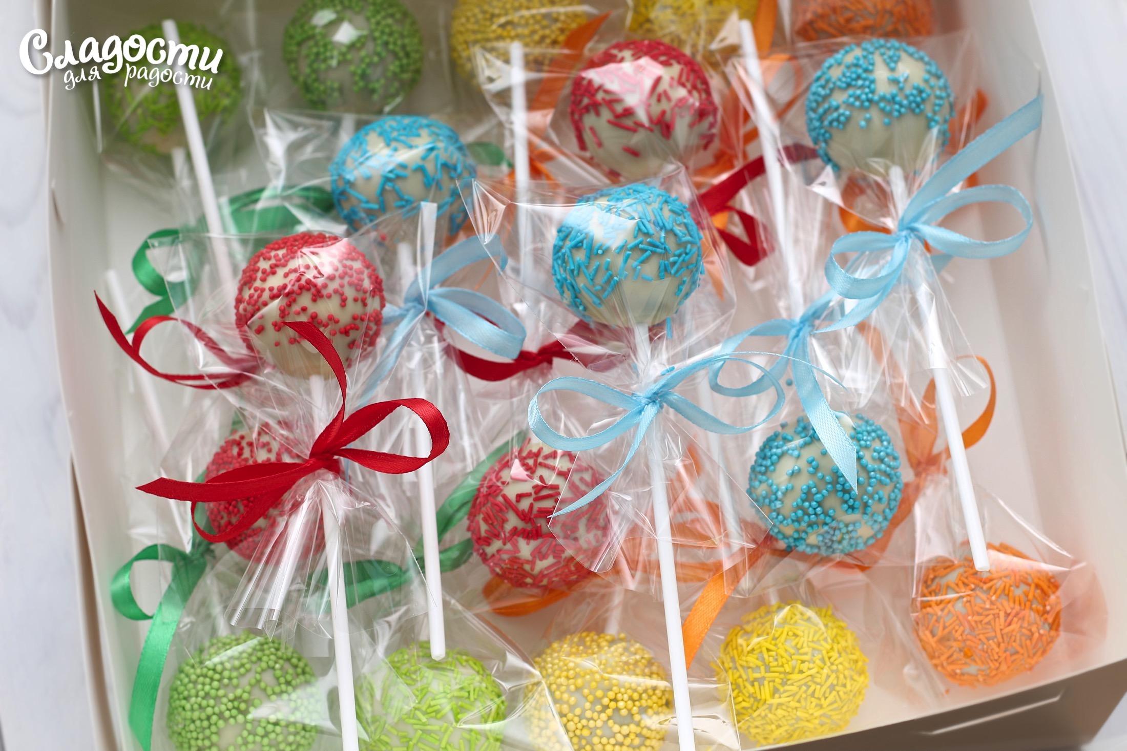 Кейк-попсы разноцветные