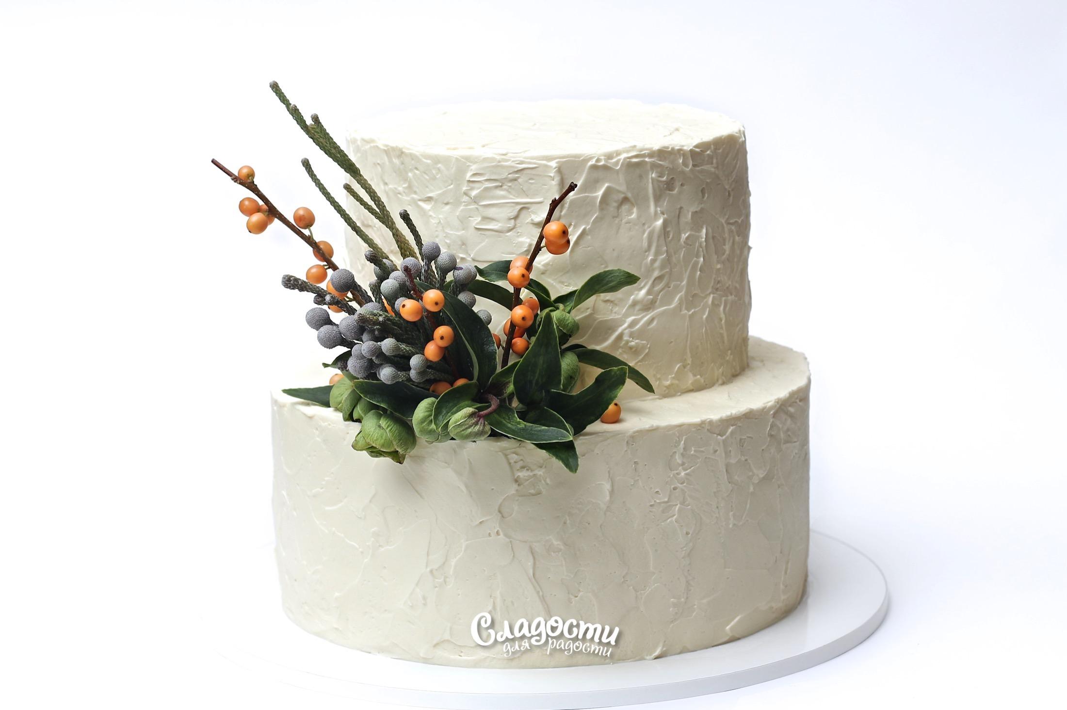 Свадебный двухъярусный торт
