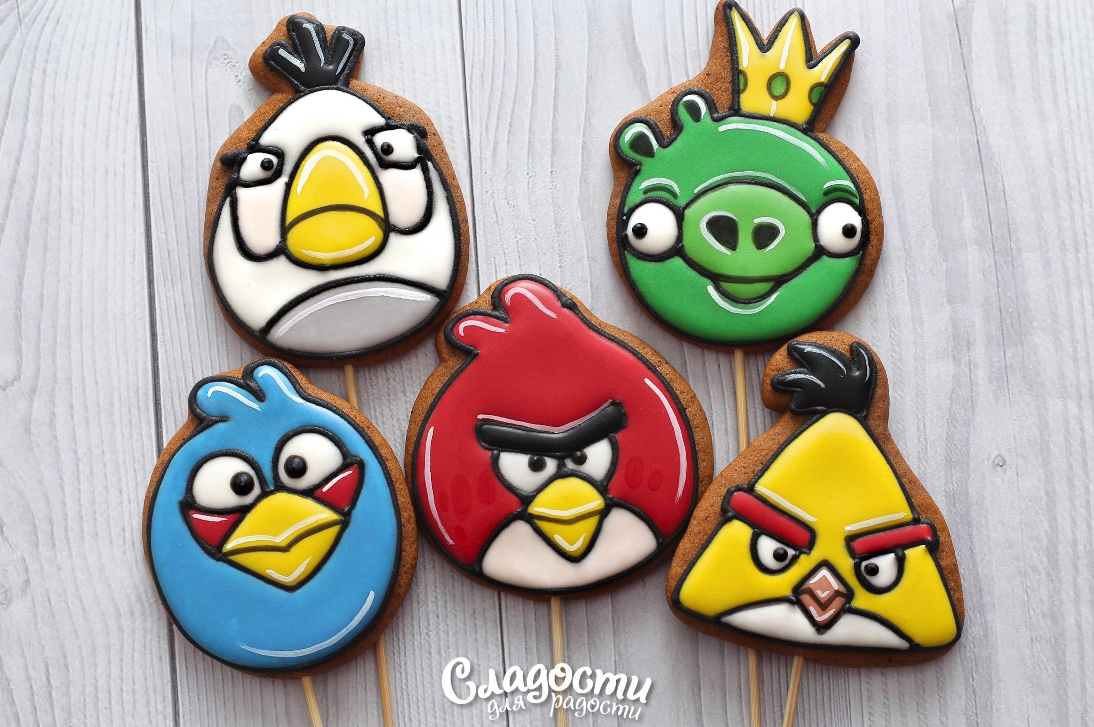 """пряничные топперы """"Angry Birds"""""""