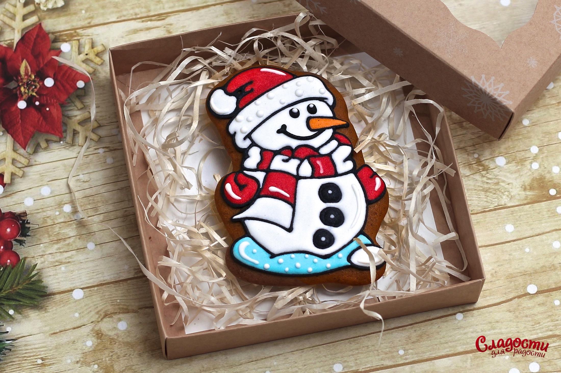 "Имбирный пряник ""Новогодний снеговик"