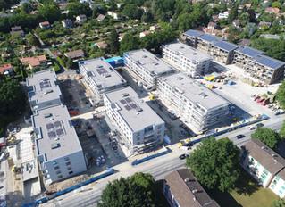 Une vue aérienne des nouvelles constructions se trouvant en face de la parcelle Grosjean