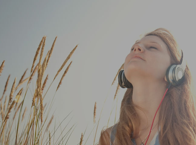 Woman enjoying a podcast