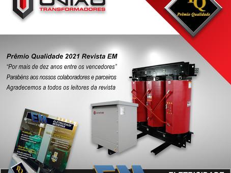 """Prêmio Qualidade 2021 """"Top of Mind"""", Revista """"EM"""" Eletricidade Moderna."""