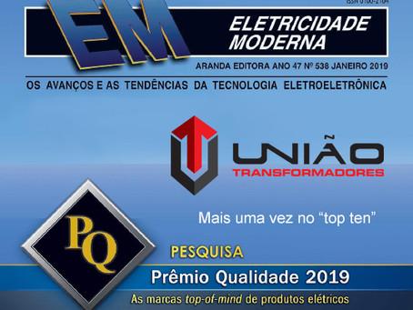 """Prêmio Qualidade 2019 """"top of mind"""", Revista Eletricidade Moderna"""