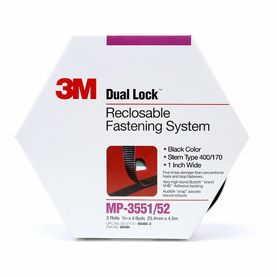 3M Dual Lock Fastener MP3551/52 25mm Black