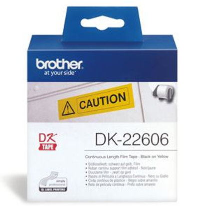 Brother DK22606 Continuous Paper Tpe (Blk Pnt on Yellow) 62mm x 15.24m