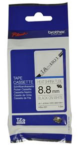 Brother HSe-221 8.8mm x 1.5m Black on White Heat Shrink Tape