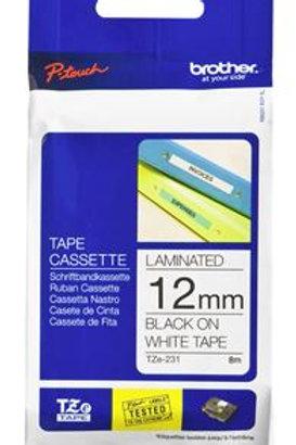 Brother TZe-231 12mm x 8m Black on White Tape