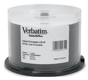 Verbatim CD-R 700MB 52x White Wide Printable Azo 50 Pack on Spindle