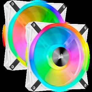 CORSAIR QL140 RGB, 140MM RGB LED FAN, DUAL PACK WITH LIGHTING NODE CORE - WHITE