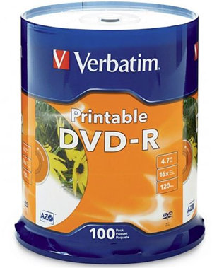 Verbatim DVD-R 4.7GB 16x White Printable 100 Pack on Spindle