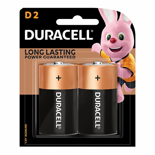 Duracell Coppertop Alkaline D Battery Pack of 2
