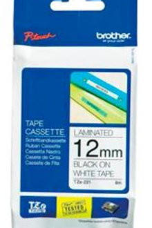 Brother TZe-231 12mm x 8m Black on White Tape Non-Laminated